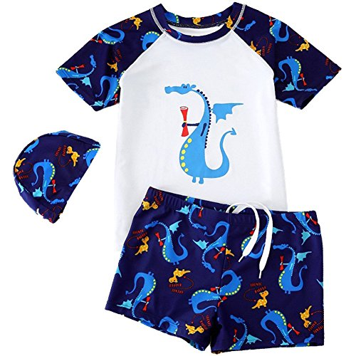 Goodkids Baby Kids Twee Stukken met Caps Cotta Cartoon Dinosaur Zwemkleding Zon Bescherming Jongens Rashguard