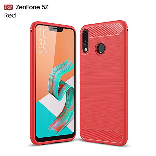 "XunEda ASUS ZenFone 5 ZE620KL,ZenFone 5Z ZS620KL 6.2"" Cover Custodia, Ultra Sottile Custodia in Silicone TPU Protettiva Antiurto per ASUS ZenFone 5 ZE620KL,ZenFone 5Z ZS620KL Smartphone(Rosso)"