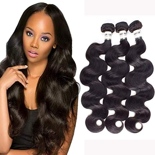 DMS Brazilian Virgin Hair 3 Bundles (300 Gram) Mink Brazilian Body Wave Hair Bundles Brazilian Hair Weave Bundles 100% Unprocessed Virgin Human Hair(Natural Black Color 12 12 12)