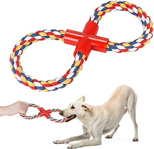 Puppy Rope Chew Toys Teething Small Dog, Tug of War Dog Chew Toys, 8 Shaped Molar Natural Cotton Rope Training for Puppy of Playing, Training Teeth Cleaning and Chewing, None Toxic