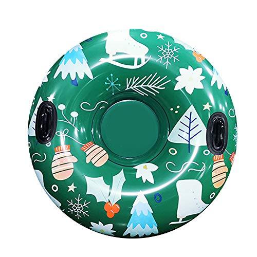 Fransande Trineo de nieve inflable de PVC de 47 pulgadas, tabla de esquí flotante, círculo inflable de esquí con mango, esquí para juguete infantil