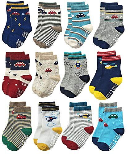 YANWANG 12 Paar Kleinkind Jungen Rutschfeste Socken Nette Baumwolle mit Griffen, Baby Jungen Mädchen Anti-Rutsch-Socken(1#Auto,0-12 Monate)