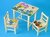 Set en bois table avec 2chaises pour chambre d'enfants. M5. Excellente idée cadeau.Complet en pin avec dessin à la main.