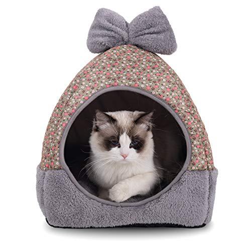 NIBESSER Katzenbett Katzenhöhle 2 in 1 Faltbar Kuschelhöhle Katzenbett mit abnehmbarem Kissen Katzenschlafplatz Katzenhaus für Katzen, Kätzchen, Welpen
