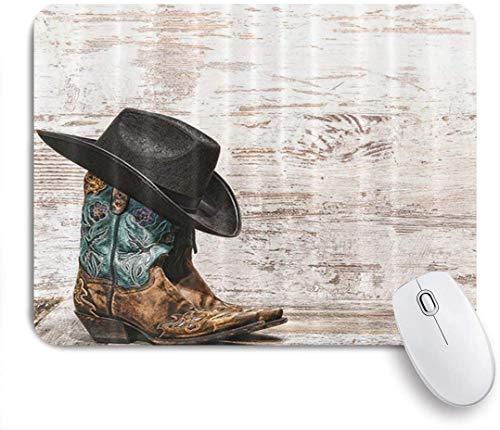 Benutzerdefiniertes Büro Mauspad,Cowboyhut und Cowgirl-Stiefel-Design,Anti-slip Rubber Base Gaming Mouse Pad Mat