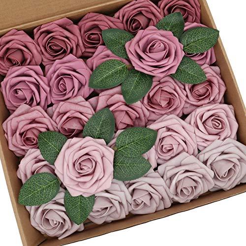 D-Seven Artificial Flowers Mauve Ombre Colors Rose Combo Box Set for DIY Wedding Bouquets Centerpieces Floral Arrangements Bridal Shower Baby Shower Party Home Decorations (Shades of Mauve)