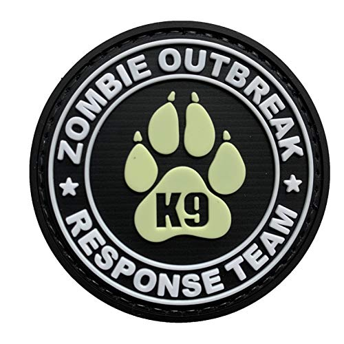 Glow K9 Paw Canine Unit Zombie Outbreak Response TeamMorale Tactical PVC Patch Combat Badge with Hook Fastener Backing (Glow)