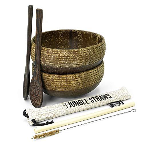 Jungle Culture Bols de Noix de Coco Recyclées | Pack de 2 Coconut Bowl & Cuillères en Bois | Paille Bambou, Pochette et Brosse | Poke Smoothie Buddha Bowl Bol Boho | Cadeau Vegan Ecolo | Zéro Déchet