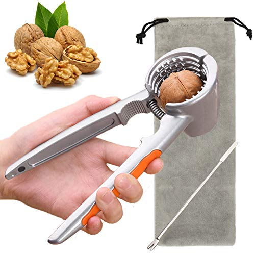 iFoxtEK Nussknacker & Walnussknacker, Walnüsse Haselnussknacker Nuts Cracker Tool mit Aufbewahrungstasche & Gable für Nüsse, 4-in-1 Multifunktional Nußknacker, Silber