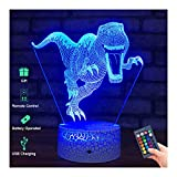 Menzee Dinosaur Toys 3D Night Light for Kids,3D Illusion Lamp with Remote Control&Smart Touch 7...
