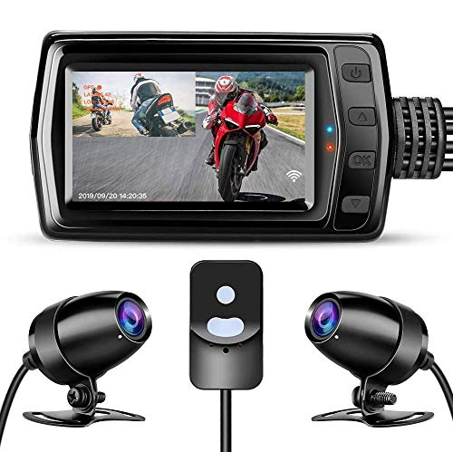 WonVon MT011 Motorcam, Motorbike Drive Recorder with 3 inch LCD Screen, Motorcycle Front and Rear Dash Camera Whole Unit Waterproof,Wide Angle 160°,Dual 1080P,GPS, WiFi,G-Sensor,Loop Recording,Support