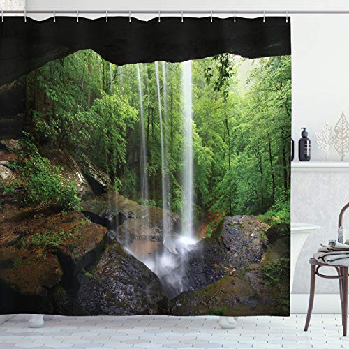 Ambesonne Natural Cave Shower Curtain, Still Waterfall in The Forest in Northern Alabama Habitat Ecosystem Scenery, Cloth Fabric Bathroom Decor Set with Hooks, 70' Long, Green Brown