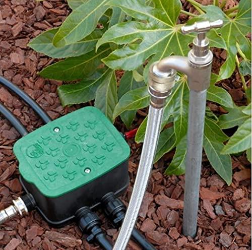 Antelco Ezyvalve Pozzetto con 4 Elettrovalvole 24V per Irrigazione Automatica, Nero-Verde