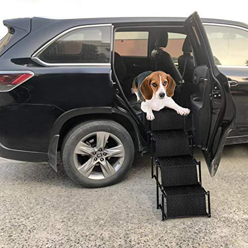 Snagle Paw Haustier Hund Auto Schritt Treppe für Rückensitz Seite Eintrag, Akkordeon Metall Rahmen Falten Pet Ramp, leichte tragbare Auto große Hund und Katzenleiter für Autos, LKW und SUVs