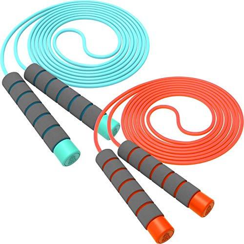 Svkiyang Springseil Kinder 6 Jahre,seilspringen Sport 2 Stück 240CM,3-12 Jahre alt für Jungen und Mädchen ideal für Fitness Training/Spiel/Fett Brennen Übung (Orange-Blau)