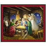 """Bedruckter Stoff mit Weihnachtsmotiv """"The King is Born"""