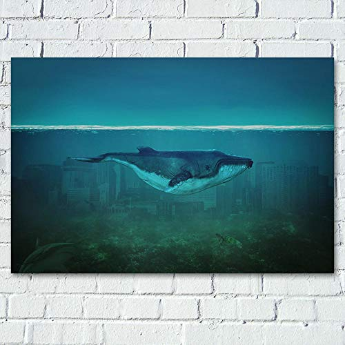 UIOLK HD Lienzo Pintura Arte Ciudad fantasía mar tiburón Ballena Pintura Cartel decoración Pintura Aniversario Regalo Navidad