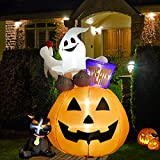 SUPERJARE 6 Ft Inflatable Lantern-Ghost-Cat, Blown up Halloween Decoration with LED Light, Tall, Indoor & Outdoor, Yard & Lawn Decor