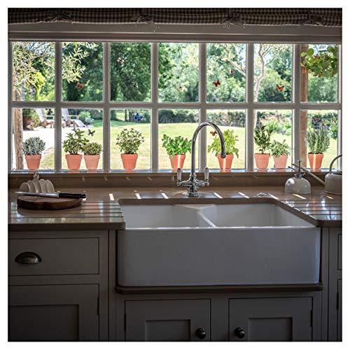 9 x Fenster-Sticker/Aufkleber mit Kräuter-Motiven – Kräutertöpfe-Glasaufkleber mit 14 x Schmetterlings Zusätzlich – Gartenhaus-Sticker Doppelseitige und selbstklebend zum Schutz gegen Vogelkollisionen