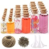 CDWERD 44 Stück Mini Glasflaschen mit Korken kleine Glasflaschen (20 Stück 5 ml und 12 Stück 10 ml und 12 Stück 20 ml), 50 Stück Ringschrauben, 30 Meter Bindfaden und 2 Stück Trichter
