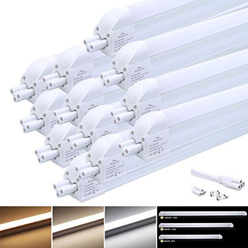 12x LED Leuchtstofflampe Tageslichtweiß, Auralum T5 G5 120CM 16W 1550LM LED Röhre Leuchtstoffröhre mit Fassung, für Tandem-Betrieb geeignet