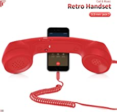 Mosuch Retro Handset, Retro Telephone 3.5mm Cell Phone Receiver for Cellphone Red
