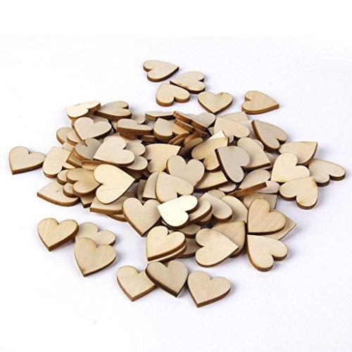 Kanggest 100Pcs Botones en Forma de Corazón de Madera Sin Agujeros para Coser Accesorio DIY Craft