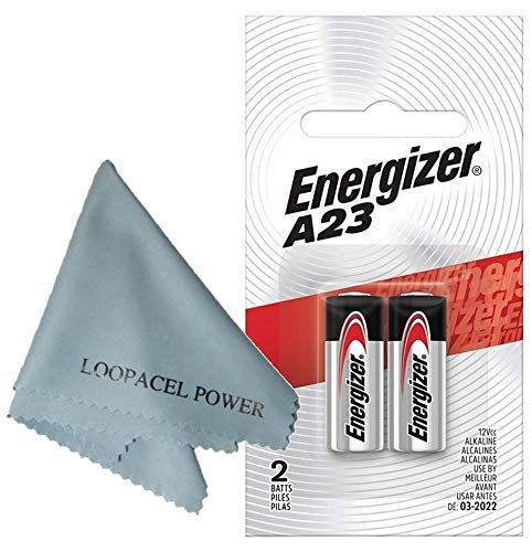 Price comparison product image 2 Pack Energizer Alkaline Batteries A23 - with Loopacell Brand Microfiber Cleaning Cloths Ultra Smooth