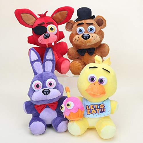 yunding 4Pcs Five Nights At Freddy'S Peluches 25Cm, Juguetes De Peluche FNAF Freddy Bonnie Bear Foxy Chica Christmas Doll