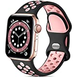 Lerobo Compatible with Apple Watch Bands 41mm 40mm 38mm for Women Men,Soft Silicone Sport Bands Replacement Wristbands Compatible for iWatch SE & Series 7 6 5 4 3 2 1,Sport Edition, Black/Pink,S/M
