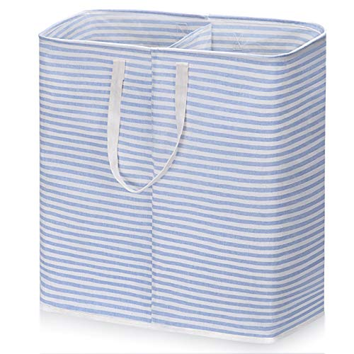 A-ZA Large Foldable Double Laundry Clothes Hamper for Bedroom,Freestanding Collapsible 100L Tall Laundry Basket with Easy Carry Extended Handles Laundry Bags for Toys