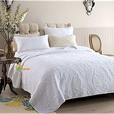HHNSI 3 Pieces White Vintage Flora Quilt Comforter Coverlet Sets Queen Size, Cotton Comfy Bedspread Bedding Sets ,Quilt and Sham Sets (White Vintage Flora)