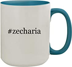 #zecharia - 15oz Hashtag Ceramic Inner & Handle Colored Coffee Mug, Light Blue