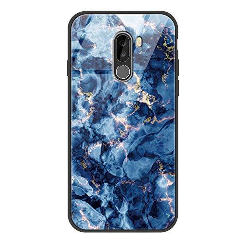 Yoedge für Xiaomi Pocophone F1 Glashülle, Stoßfest Hybrid Schutzhülle [TPU Silikon Glas Rückseite] mit Muster Motiv Handyhülle Kratzfeste Hülle Cover für Xiaomi Pocophone F1 6,18