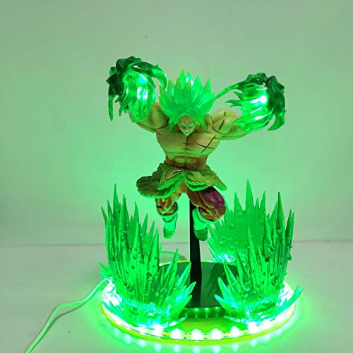 HHAA Dragon Ball Super Movie Broly Green Power LED Effetto Action Figures Giocattoli Anime Dragon Ball Z Broly Scene Figurine Toy