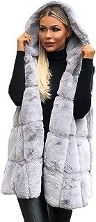 QitunC Women's Hoodies Gilets Overcoat Warm Faux Fur Hooded Jacket Coat Sleeveless Waistcoat Body Warmer
