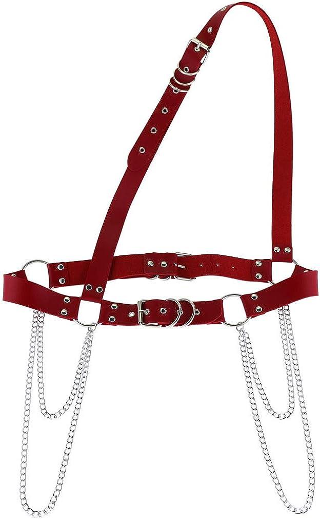 sd finger Men's Faux Leather Harness Belt Body Chain-TONY Lisa Idol star shirt Halloween Festival Rave Costume