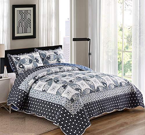 ENCOFT Tagesdecke 3 Teilig Bettwäscheset Polyester 220 * 240 cm Bettüberwurf Steppdecke Patchwork Bettdecke Doppelbett (220 x 240 cm, Dunkelblau)