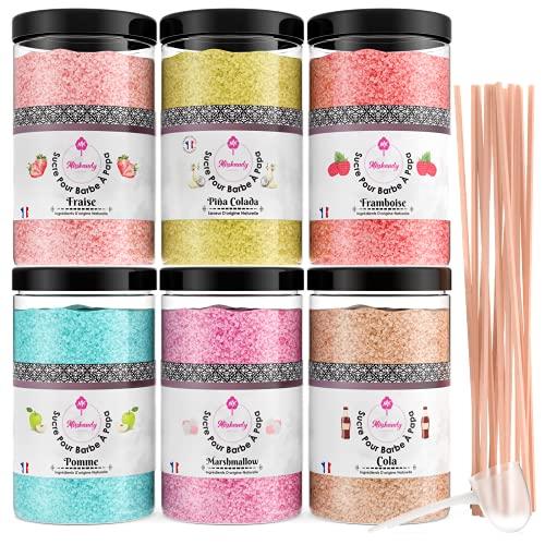 Misskandy, zucchero filato per macchina/lotto da 1,8 kg (6 * 300g) / aromi: fragola, pina colada, marshmallow, mela, cola, lampone + 50 bastoncini di (30 cm)