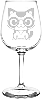 (Calico) Cute Cartoon Cat Breed Inspired - Laser Engraved 12.75oz Libbey All-Purpose Wine Taster Glass