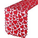 Camino de Mesa de Encaje de Corazón de San Valentín Decoración de Mesa de Corazón de Amor Rojo Bordado para Boda Propuesta Cena con Velas Aniversario Compromiso Navidad, 14 x 72 Pulgadas