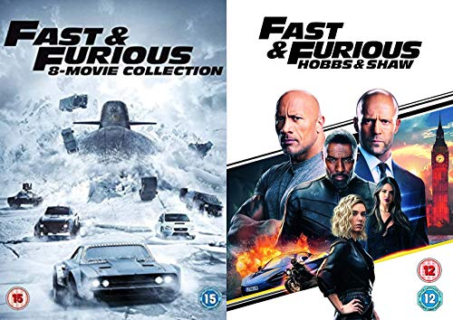 Fast & Furious 1 - 8 Complete Collection + Hobbs & Shaw DVD Movie: The Fast & The Furious,2 Fast 2 Furious,Tokyo Drift, Fas & Furious 4,5,6,7,8 + Fast & Furious : Hobbs & Shaw