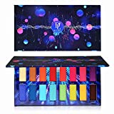 DE'LANCI Bright and Pigmented Eyeshadow Palette Makeup, Matte and Shimmer Colorful Eye Shadow Pallet Long Lasting, Vibrant Rainbow Red Purple Blue 16 Colors Eyes Shade Palette Make up - Heartquake