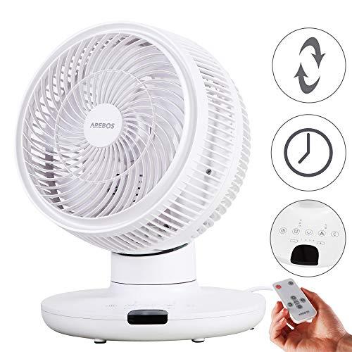 Arebos Tischventilator mit Timer | 55W | 3D Oszillation | Ventilator mit 4 Geschwindigkeitsstufen | inkl. Nachtmodus & Touch Panel mit Raumtemperaturanzeige