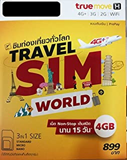 Truemove-H Travel Sim World 6 GB Non-stop internet in China, France, UK, NZ, Vietnam, Russia, Ukraine and other 55 countries