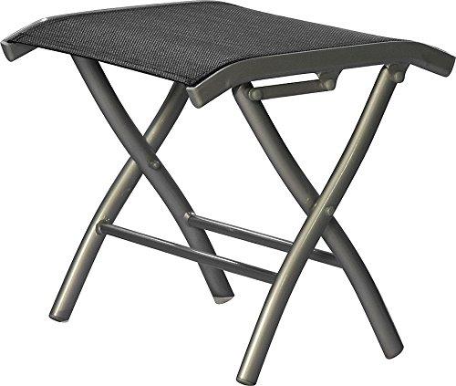 IB-Style - Banc de Pied Diplomat | 41 x 41 cm| Aluminium Mat-argenté/Textile Noir | Salon de Jardin