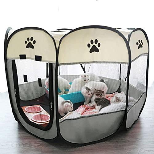 WJP Portátil Plegable Pet Tente Casa De Perro Jaula Octogonal para Gato Tienda Playpen Puppy Kennel Easy Operation Fence Outdoor Big Dogs House(Size:Metro,Color:Ceniza)