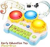 BelleStyle Giocattolo Musicale per Bambini, Tamburo e Pianoforte Strumenti Musicali con Ad...