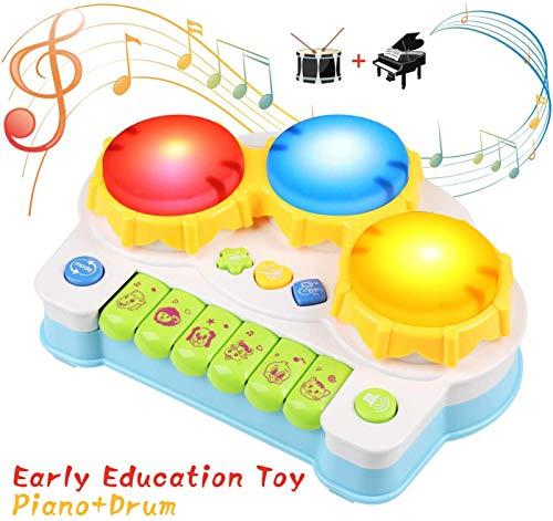 BelleStyle Giocattolo Musicale per Bambini, Tamburo e Pianoforte Strumenti Musicali con Adorabili Suoni, Gioco Educativo Prima Infanzia Perfetto Regalo per Baby (Blu)
