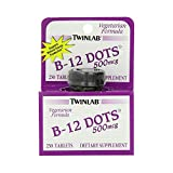 Twinlab B-12 Dots Vitamin B-12, 500mcg, 250 Tablets, Dietary Supplement, Supports Natural Energy Production